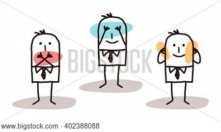 Hand Drawn Cartoon Three Men Hiding Mouth, Eyes And Ears