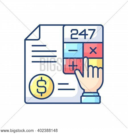 Accounting Rgb Color Icon. Measurement And Processing Of Financial Information About Economic Entiti