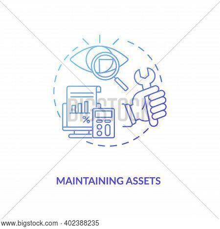 Maintaining Assets Concept Icon. Asset Management Component Idea Thin Line Illustration. Business Ex