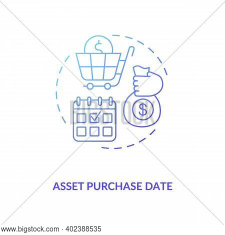 Asset Purchase Date Concept Icon. Assets Inventory Element Idea Thin Line Illustration. Financial Ac