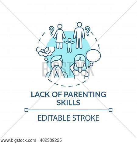 Lack Of Parenting Skills Turquoise Concept Icon. Problem With Raising Children. Parental Neglect. Ch