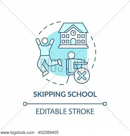 Skipping School Turquoise Concept Icon. Kids Truancy. Trouble With Education. Non Attendance. Child
