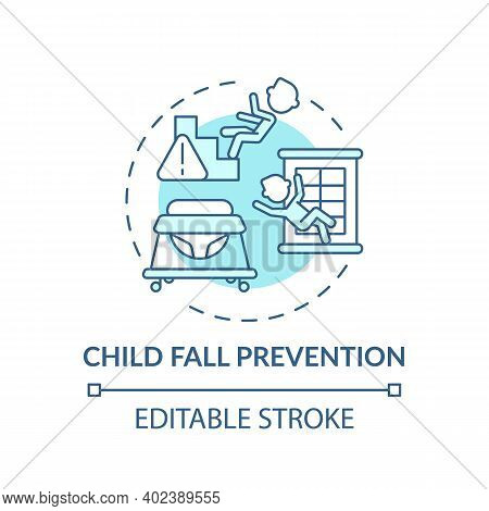 Child Fall Prevention Turquoise Concept Icon. Kid Trauma, Injury Precaution. Children Protection. Ch