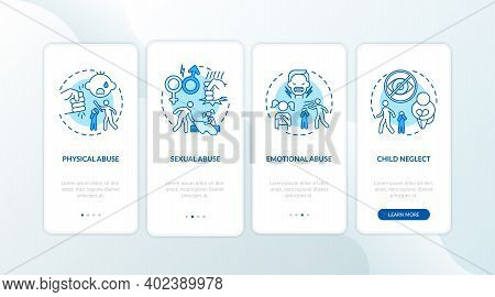 Children Abuse Blue Onboarding Mobile App Page Screen With Concepts. Kid Harassment. Child Neglect W