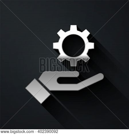 Silver Settings In The Hand Icon Isolated On Black Background. Long Shadow Style. Vector Illustratio