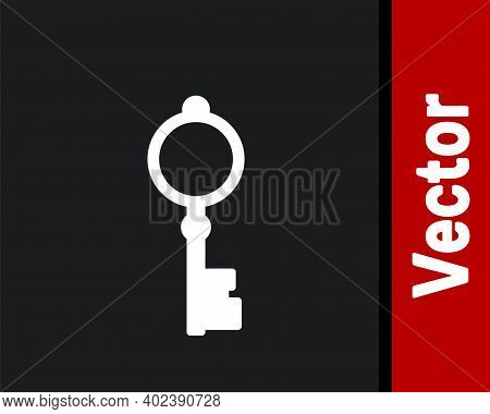 White Old Key Icon Isolated On Black Background. Vector Illustration