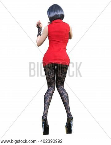 3d Beautiful Sexy Woman Red Super Mini Dress And Black Tights Pantyhose.woman Studio Photography.fas
