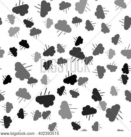 Black Cloud With Rain Icon Isolated Seamless Pattern On White Background. Rain Cloud Precipitation W