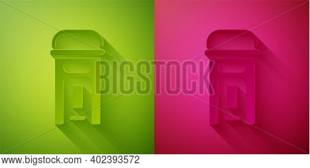 Paper Cut London Phone Booth Icon Isolated On Green And Pink Background. Classic English Booth Phone