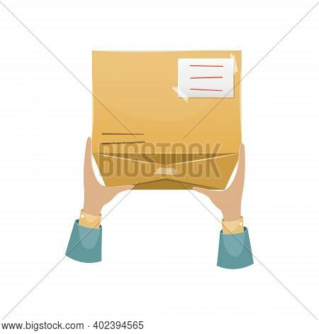 Delivery Of The Parcel By The Postman To The Recipient At Home. Mail Delivery.