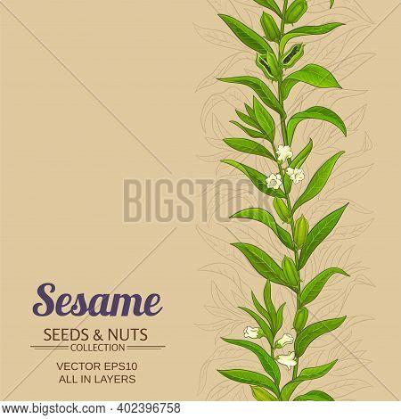 Sesame Plant Vector Pattern On Color Background