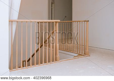 Railing For Stairs Wooden Planks Around Pole Stairs Handrails Renovation