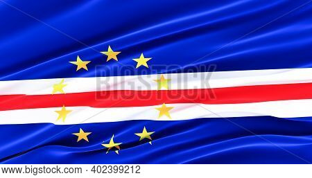 Waving Fabric Flag Of Cape Verde, Silk Flag Of Cape Verde. 3d Render
