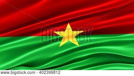 Waving Fabric Flag Of Burkina Faso, Silk Flag Of Burkina Faso. 3d Render