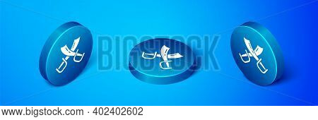 Isometric Crossed Pirate Swords Icon Isolated On Blue Background. Sabre Sign. Blue Circle Button. Ve