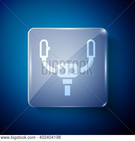 White Aircraft Steering Helm Icon Isolated On Blue Background. Aircraft Control Wheel. Square Glass