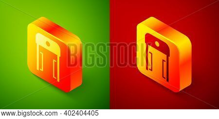 Isometric Metal Detector In Airport Icon Isolated On Green And Red Background. Airport Security Guar