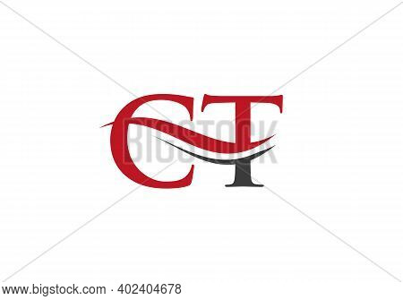 Swoosh Letter Ct Logo Design For Business And Company Identity. Water Wave Ct Logo With Modern Trend