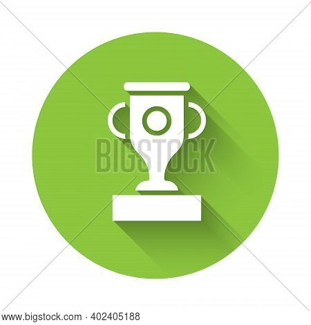White Award Cup Icon Isolated With Long Shadow. Winner Trophy Symbol. Championship Or Competition Tr