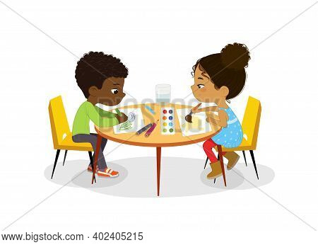 African American Boy And Girl Sit At The Round Table And Draw Picture With Watercolor And Pencils. D