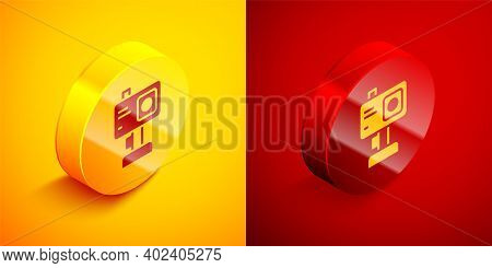 Isometric Action Extreme Camera Icon Isolated On Orange And Red Background. Video Camera Equipment F