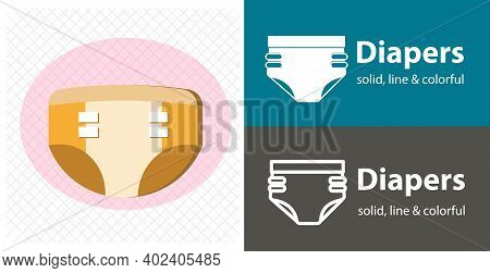 Diaper Glyph Icon, Baby And Nappy Isolated Vector Icon. Diaper Line, Solid Flat Icon