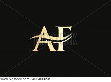 Initial Gold Letter Af Logo Design. Af Logo Design With Modern Trendy