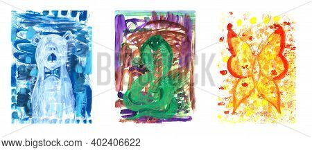 Hand Drawn Acrylic Illustration Isolated Animal Set. Unique Abstract Infantile Style White, Blue, Gr