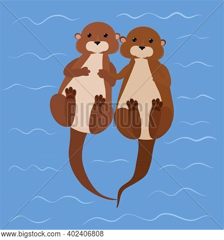 Otter Couple Resting Swims Holding By Paws In Blue River. Cartoon Water Animal Vector Illustration.