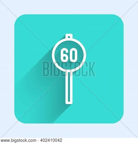White Line Speed Limit Traffic Sign 60 Km Icon Isolated With Long Shadow. Green Square Button. Vecto