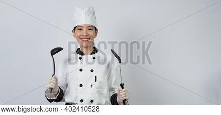 Portrait Beautiful Asian Woman Cook Wearing Chef Uniform Making Gesture