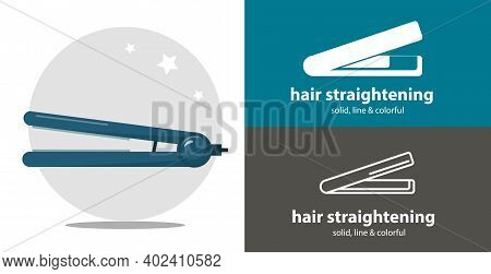 Hair Straightening Isolated Vector Flat Icon. Beauty Line Solid Design Element