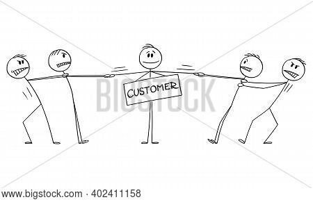 Vector Cartoon Stick Figure Illustration Of Two Groups Of Businessmen Playing Tug-of-war For Client,