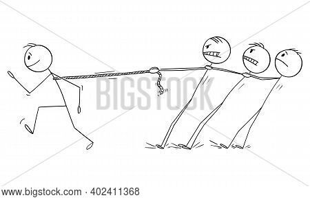 Vector Cartoon Stick Figure Illustration Of Strong Individual Businessman Or Man Dragging Competitor