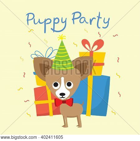Puppy Party Background. Cute Greeting Card With Presents And Puppy In The Flat Style