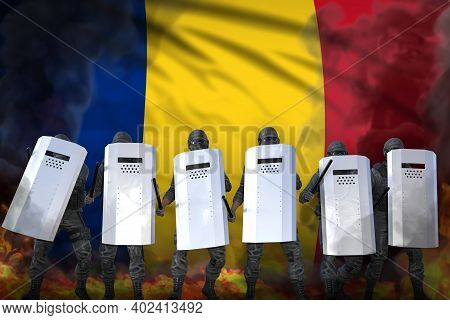 Romania Police Guards Protecting Country Against Revolt - Protest Stopping Concept, Military 3d Illu