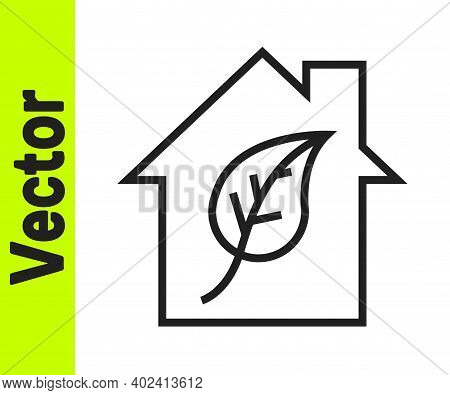 Black Line Eco Friendly House Icon Isolated On White Background. Eco House With Leaf. Vector