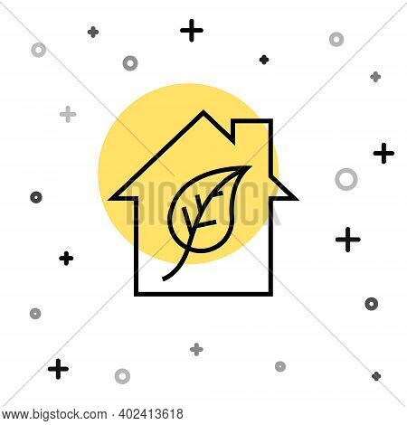 Black Line Eco Friendly House Icon Isolated On White Background. Eco House With Leaf. Random Dynamic