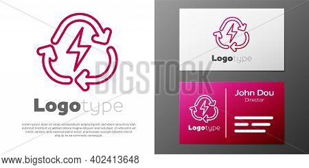 Logotype Line Battery With Recycle Symbol Line Icon Isolated On White Background. Battery With Recyc