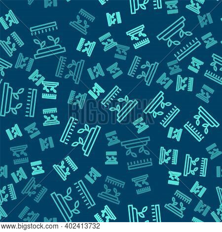 Green Line Automatic Irrigation Sprinklers Icon Isolated Seamless Pattern On Blue Background. Wateri