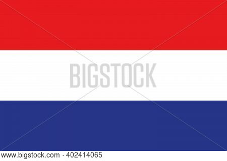National Flag Of The Country Of The Netherlands. Dutch Flag. The Symbol Of The Kingdom Of The Nether