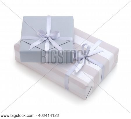 Two Gray Gift Boxes With Gray Ribbon Isolated On White Color Background.