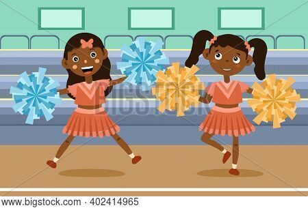 Two Cute Little Girls Cheer Leading At An Event With Matching Outfits And Pompoms, Colored Cartoon V