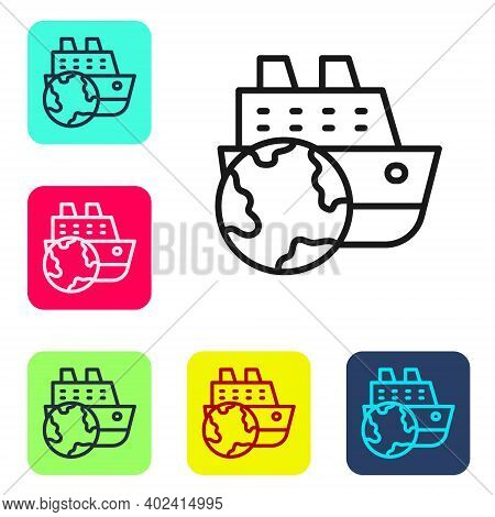 Black Line Cruise Ship Icon Isolated On White Background. Travel Tourism Nautical Transport. Voyage