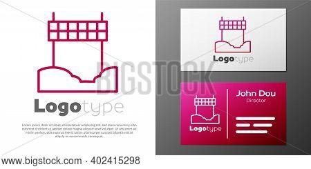 Logotype Line Ribbon In Finishing Line Icon Isolated On White Background. Symbol Of Finish Line. Spo