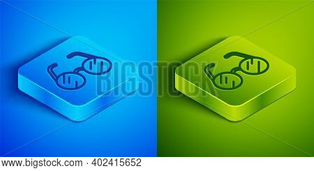Isometric Line Eyeglasses Icon Isolated On Blue And Green Background. Square Button. Vector
