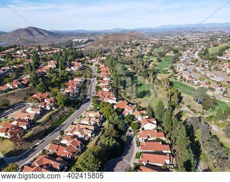 Aerial View Of Residential Neighborhood In Valley With Mountain In The Background, Rancho Bernardo,