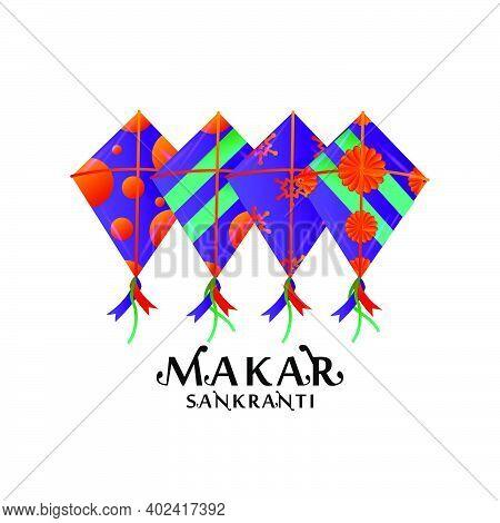 Different Kites Makar Sankranti Design Vector Isolated On White