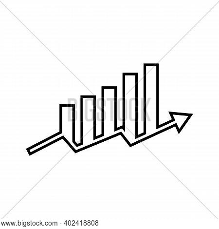 Bar Chart And Arrow Going Upwards Icon. Stock Or Profits Increase Concept. Black Symbol Vector Illus