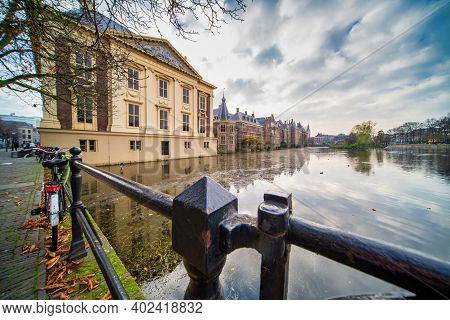The Hague, The Netherlands - November 10, 2020: Mauritshuis Museum And Binnenhof Palace In The Hague